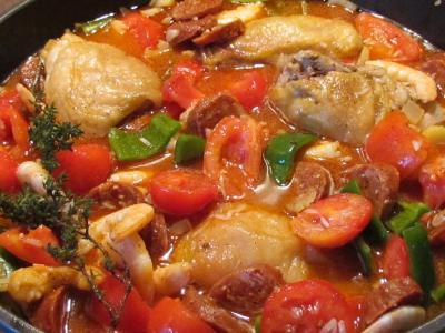 Jambalaya en debut de cuisson