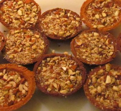 Mini tartelettes caramel et fruits sec